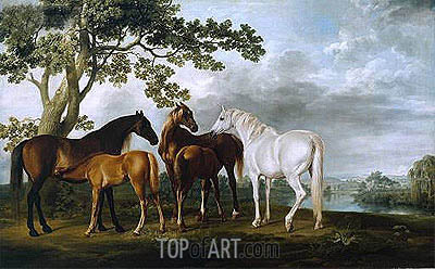 George Stubbs | Mares and Foals in a River Landscape, c.1763/68