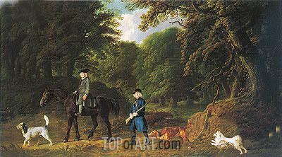 George Stubbs | Lord Torrington's Steward and Gamekeeper with Their Dogs at Southill Bedfordshire, 1767