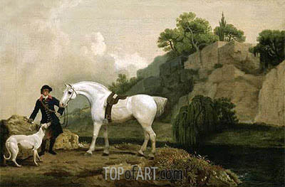 George Stubbs | A Grey Hunter with a Groom and a Greyhound at Creswell Crags, c.1762/64