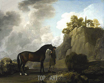 George Stubbs | The Marquess of Rockingham's Arabian Stallion (led by a Groom at Creswell Crags), 1766