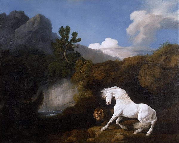 A Horse frightened by a Lion, 1770 | George Stubbs | Painting Reproduction