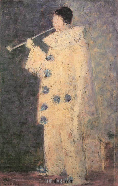 Pierrot with a White Pipe, 1883 | Georges Seurat | Gemälde Reproduktion