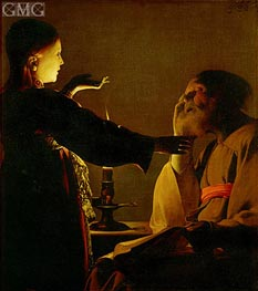 Saint Joseph and the Angel (The Dream of St. Joseph), c.1635/40 by Georges de La Tour | Painting Reproduction