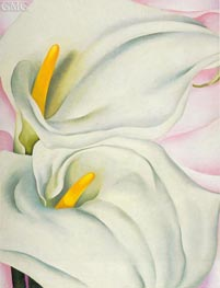 Two Calla Lilies on Pink, 1928 by O'Keeffe | Painting Reproduction
