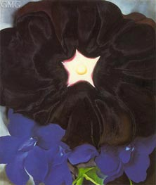 Black Hollyhock, Blue Larkspur, 1929 by O'Keeffe | Painting Reproduction