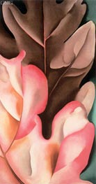 Oak Leaves - Pink and Gray, 1929 by O'Keeffe | Painting Reproduction