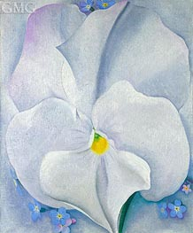 White Pansy (Pansy with Forget-me-nots), 1927 by O'Keeffe | Painting Reproduction