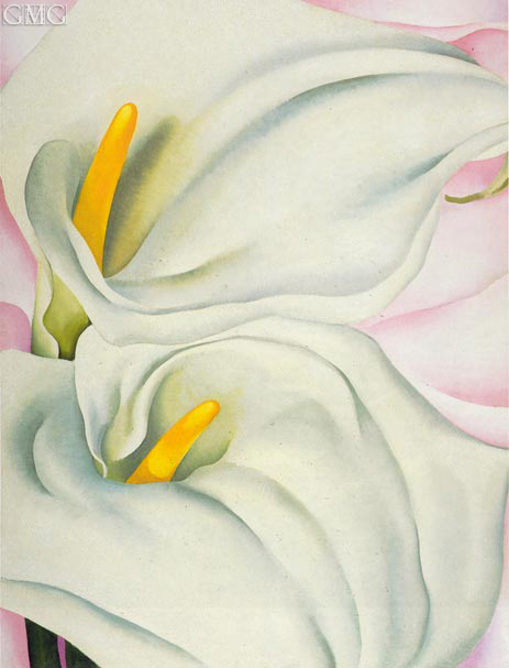 Two Calla Lilies on Pink, 1928 | O'Keeffe| Gemälde Reproduktion