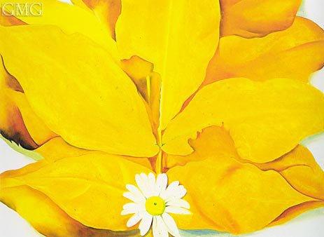 Yellow Hickory Leaves with Daisy, 1928 | O'Keeffe | Painting Reproduction