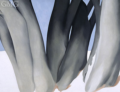 O'Keeffe | Bare Tree Trunks with Snow, 1946