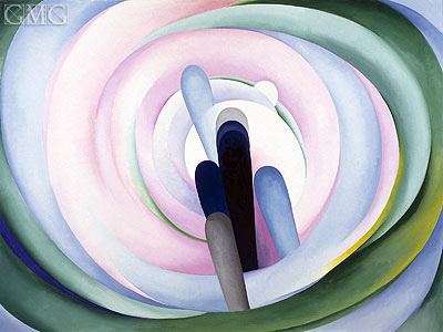 Grey Blue and Black - Pink Circle, 1929 | O'Keeffe| Gemälde Reproduktion
