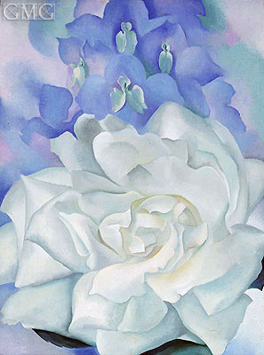 White Rose with Larkspur II, 1927 | O'Keeffe | Painting Reproduction