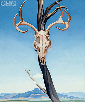 Deer's Skull with Pedernal, 1936 | O'Keeffe | Painting Reproduction