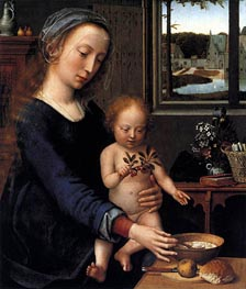 Virgin and Child with the Milk Soup, c.1515 by Gerard David | Painting Reproduction