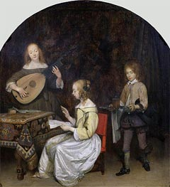 The Concert: Singer and Theorbo Player | Gerard ter Borch | outdated