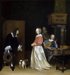 The Suitor's Visit, c.1658 by Gerard ter Borch | Painting Reproduction