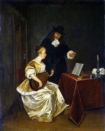 The Music Lesson, c.1670 by Gerard ter Borch | Painting Reproduction