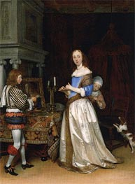 A Lady at her Toilet, c.1660 by Gerard ter Borch | Painting Reproduction