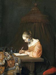 Woman Writing a Letter, c.1655 by Gerard ter Borch | Painting Reproduction
