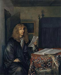 Portrait of a Man Reading a Coranto, c.1675 by Gerard ter Borch | Painting Reproduction