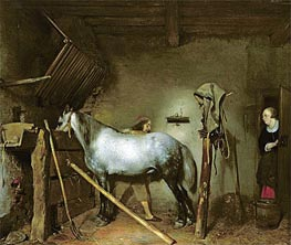 Horse Stable, c.1652/54  by Gerard ter Borch | Painting Reproduction