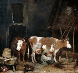 A Maid Milking a Cow in a Barn, c.1652/54  by Gerard ter Borch | Painting Reproduction
