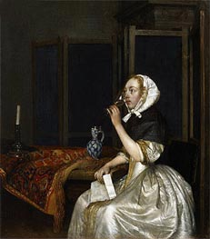 Young Woman with a Glass of Vine,  Holding a Letter in her Hand, c.1665 by Gerard ter Borch | Painting Reproduction