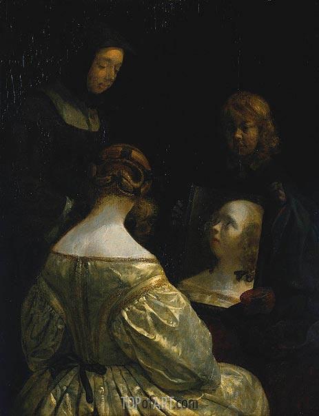 Gerard ter Borch | Woman at a Mirror, c.1650