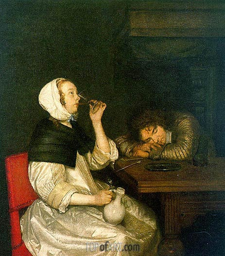 Gerard ter Borch | Woman Drinking with Sleeping Soldier, early 1660