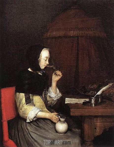 Woman Drinking Wine, c.1656/57 | Gerard ter Borch| Painting Reproduction