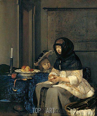 Woman Peeling Apples, 1660 | Gerard ter Borch | Painting Reproduction