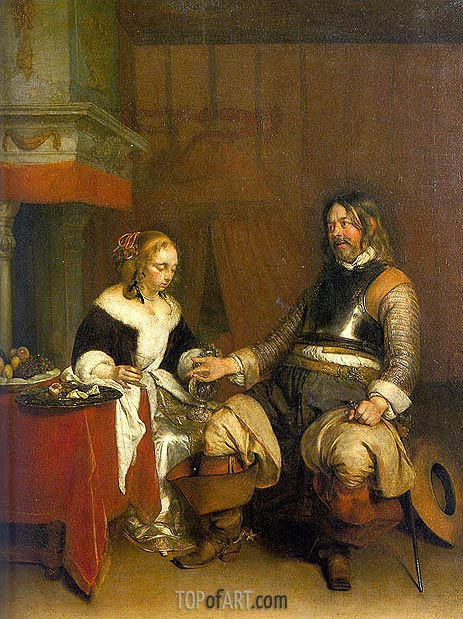 Man Offering a Woman Coins, c.1662/63 | Gerard ter Borch | Painting Reproduction