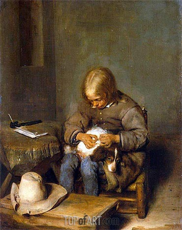 Boy Ridding his Dog of Fleas, c.1665 | Gerard ter Borch | Painting Reproduction