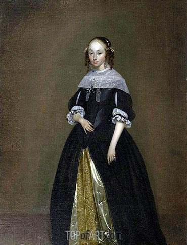 Portrait of a Young Lady, c.1665/70 | Gerard ter Borch| Gemälde Reproduktion