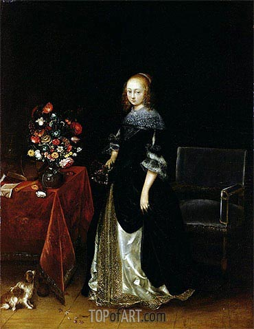Portrait of a Young Woman, c.1665/70 | Gerard ter Borch| Painting Reproduction