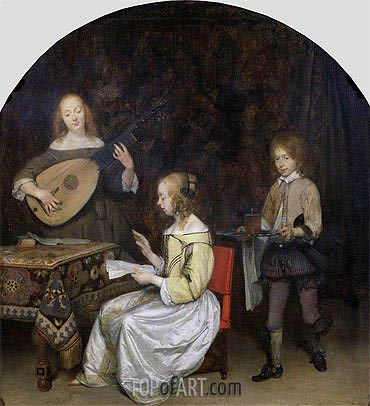 Gerard ter Borch | The Concert: Singer and Theorbo Player, c.1657