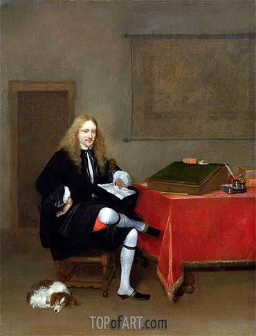 Gerard ter Borch | Portrait of a Man in his Study, c.1668/69