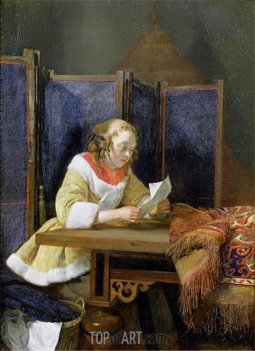 A Lady Reading a Letter, early 1660 | Gerard ter Borch| Painting Reproduction