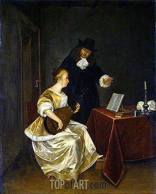 The Music Lesson, c.1670 | Gerard ter Borch | Painting Reproduction