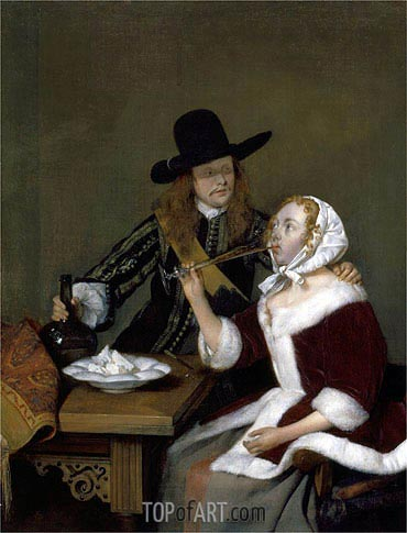 A Gentleman Pressing a Lady to Drink, c.1660 | Gerard ter Borch| Painting Reproduction