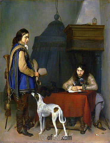 Officer Writing a Letter with a Trumpeter, c.1658/59 | Gerard ter Borch | Painting Reproduction