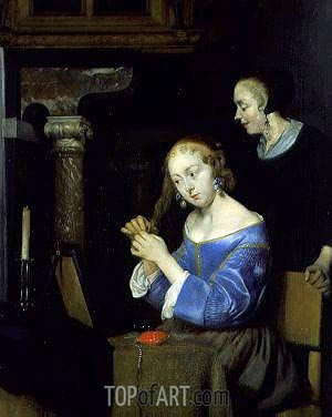A Lady Dressing her Hair, c.1650 | Gerard ter Borch| Gemälde Reproduktion