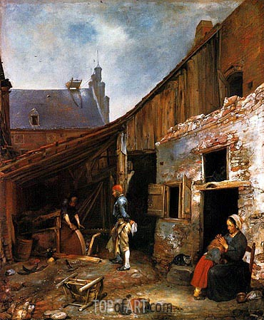 The Family of the Stone Grinder, c.1653/55 | Gerard ter Borch | Painting Reproduction