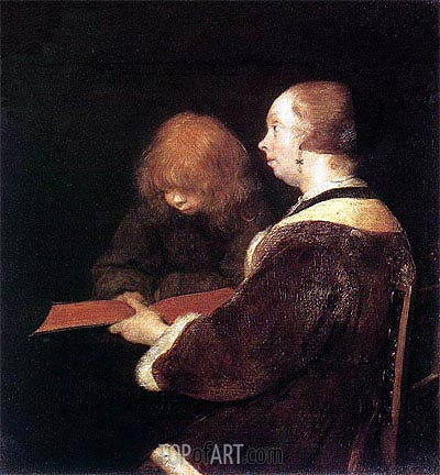 The Reading Lesson, c.1652 | Gerard ter Borch | Painting Reproduction