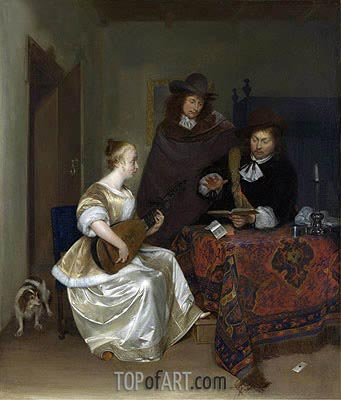 A Woman Playing a Theorbo to Two Men, c.1667/68 | Gerard ter Borch | Painting Reproduction