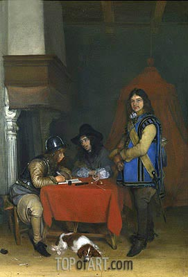 An Officer Dictating a Letter, c.1655/58 | Gerard ter Borch | Gemälde Reproduktion