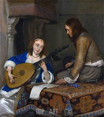 A Woman Playing the Theorbo-Lute and a Cavalier, c.1658 | Gerard ter Borch | Painting Reproduction