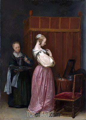 A Young Woman at Her Toilet with a Maid, c.1650/51 | Gerard ter Borch| Painting Reproduction