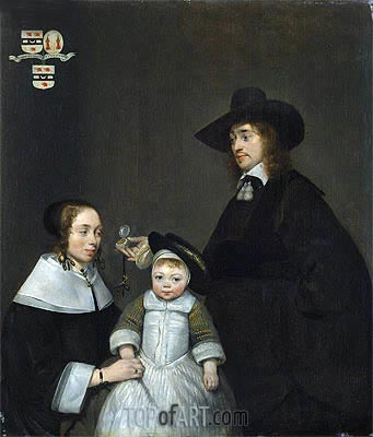 The van Moerkerken Family, c.1653/54 | Gerard ter Borch | Painting Reproduction