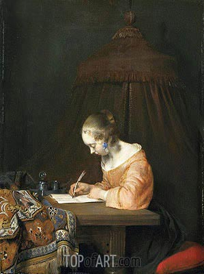 Woman Writing a Letter, c.1655 | Gerard ter Borch | Painting Reproduction